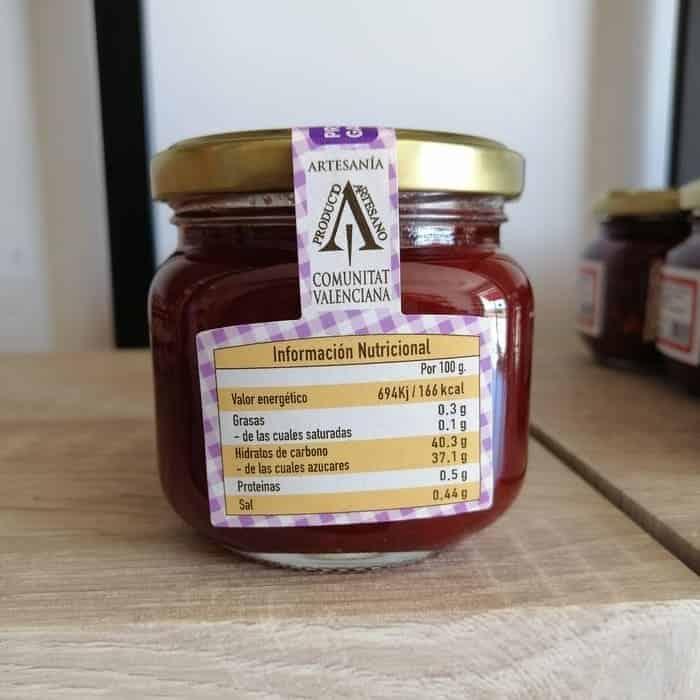 Información nutricional de la mermelada de pimiento que puedes comprar