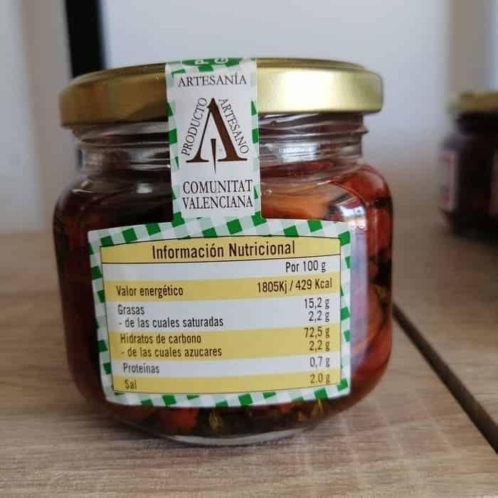 Información nutricional del tomate seco con hierbas que puedes comprar